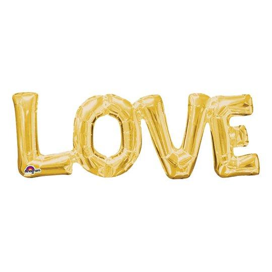 Bokstavsballong Love Guld