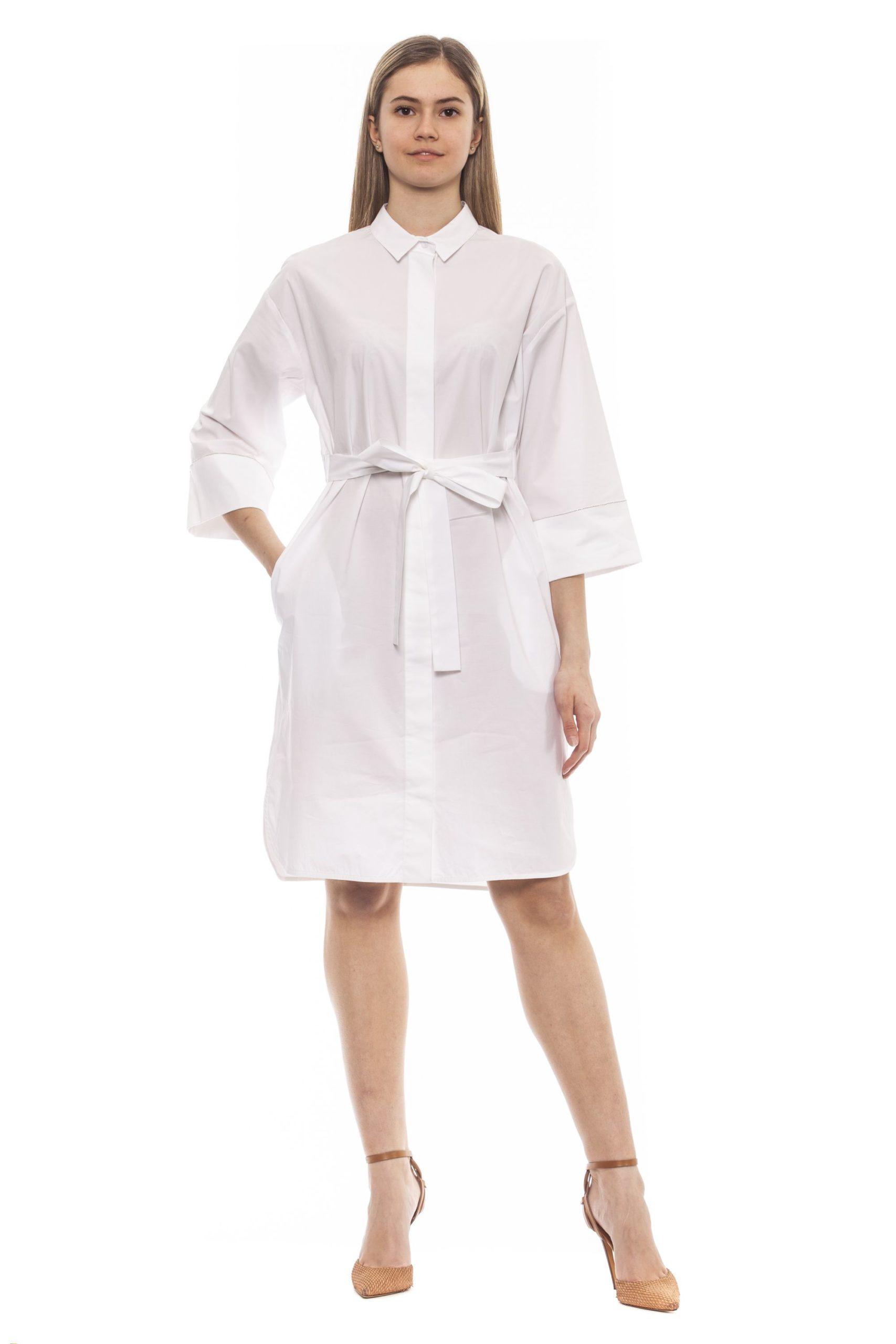 Peserico Women's Bianco Dress White PE1383280 - IT42   S