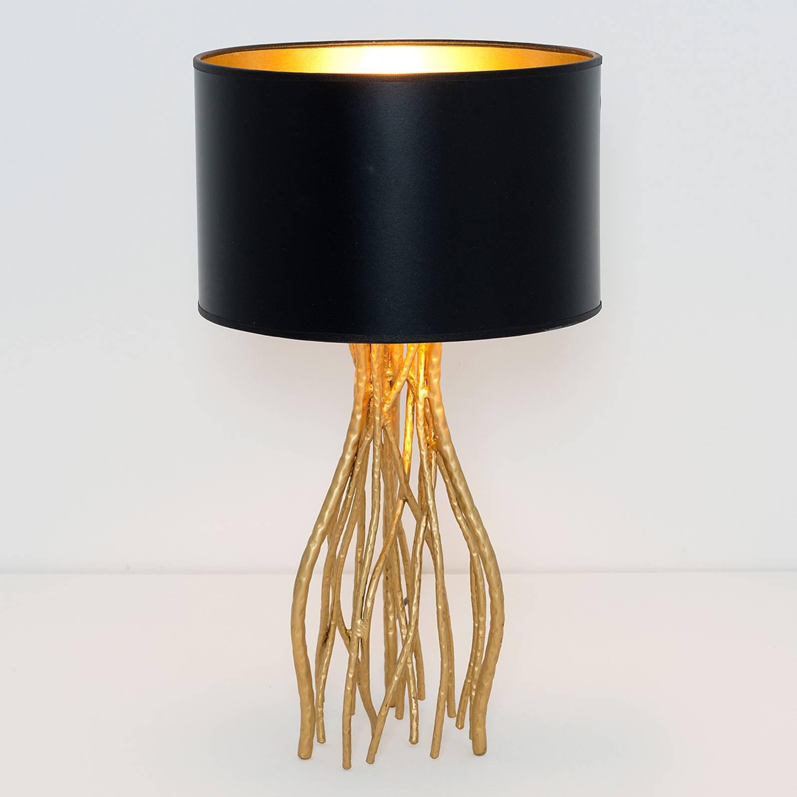 Svart bordlampe Capri, rund, høyde 44 cm