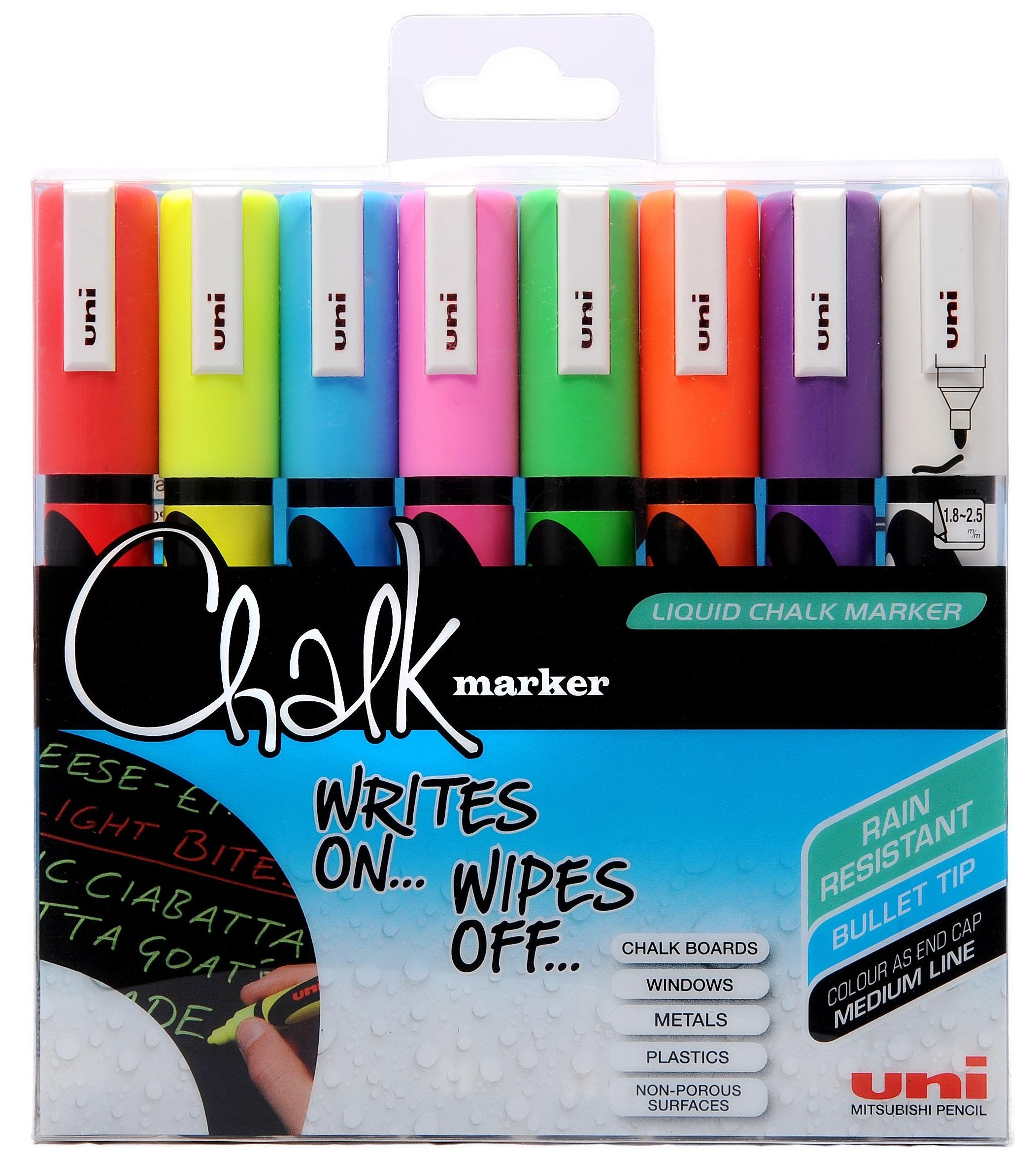 Uni - Chalkmarker 5M - Assorted colors, 8 pc