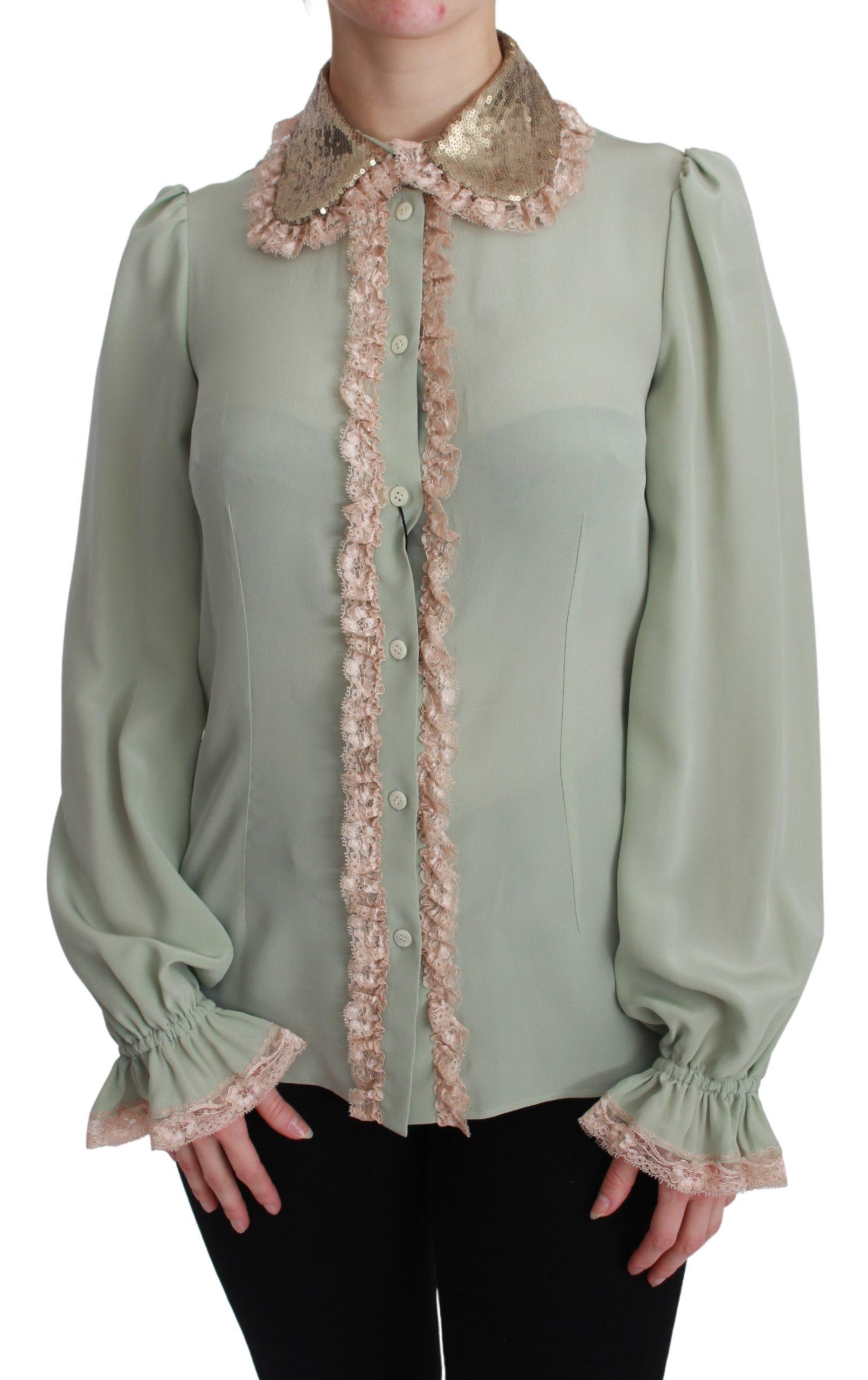 Dolce & Gabbana Women's Sequin Lace Shirt Green bgTSH2670 - IT38 XS