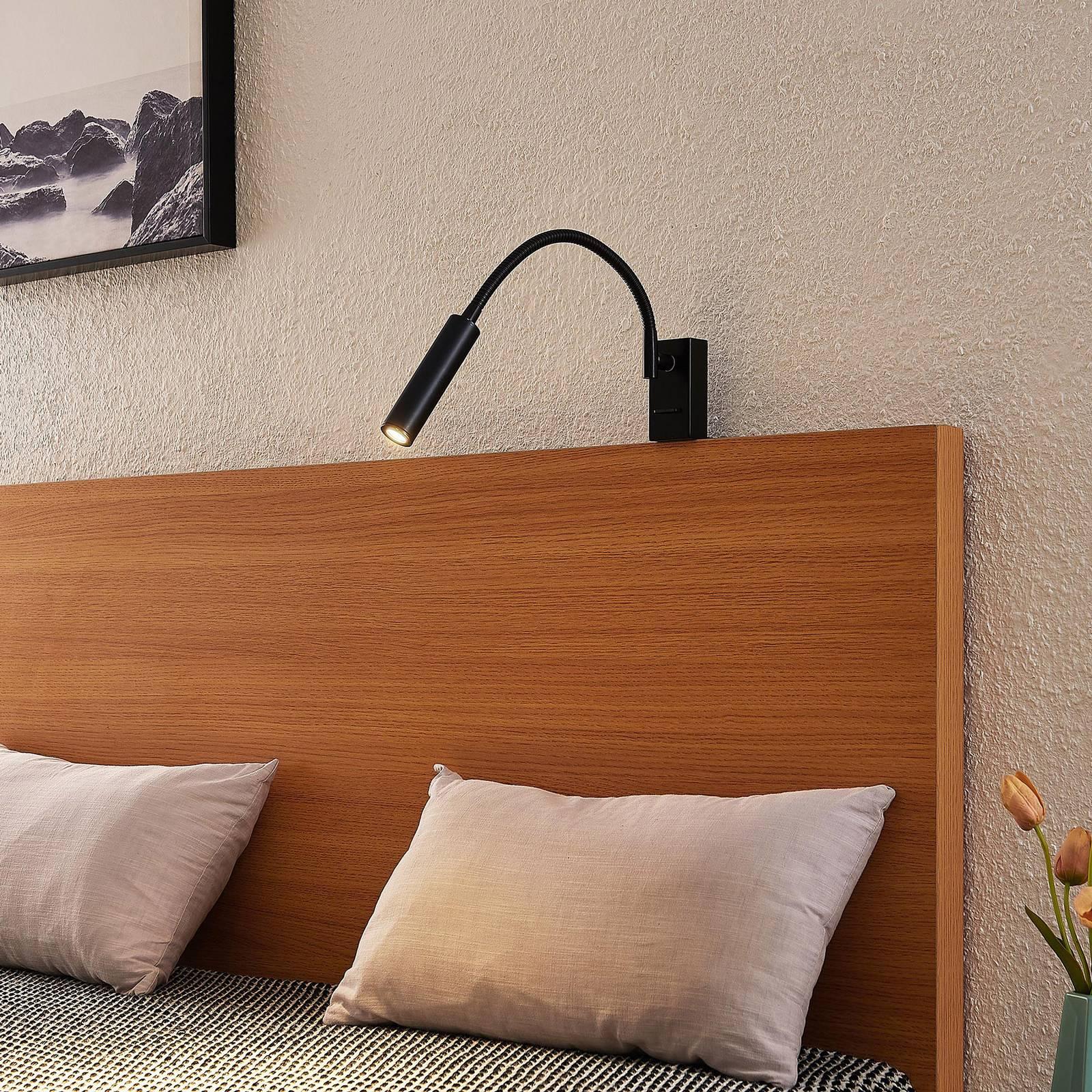 Lucande Anaella -LED-seinävalaisin, musta, 55 cm