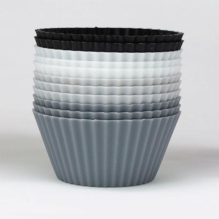 Muffinsformar, svart-vit-grå, 12-pack