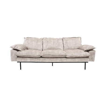 Retro Sofa Fløyel 3-seter Kremhvit