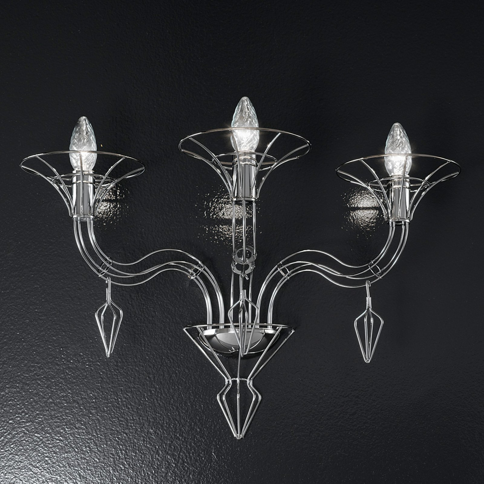Vegglampe Dedalo, 3 lyskilder, krom