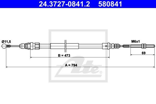 Käsijarruvaijeri ATE 24.3727-0841.2