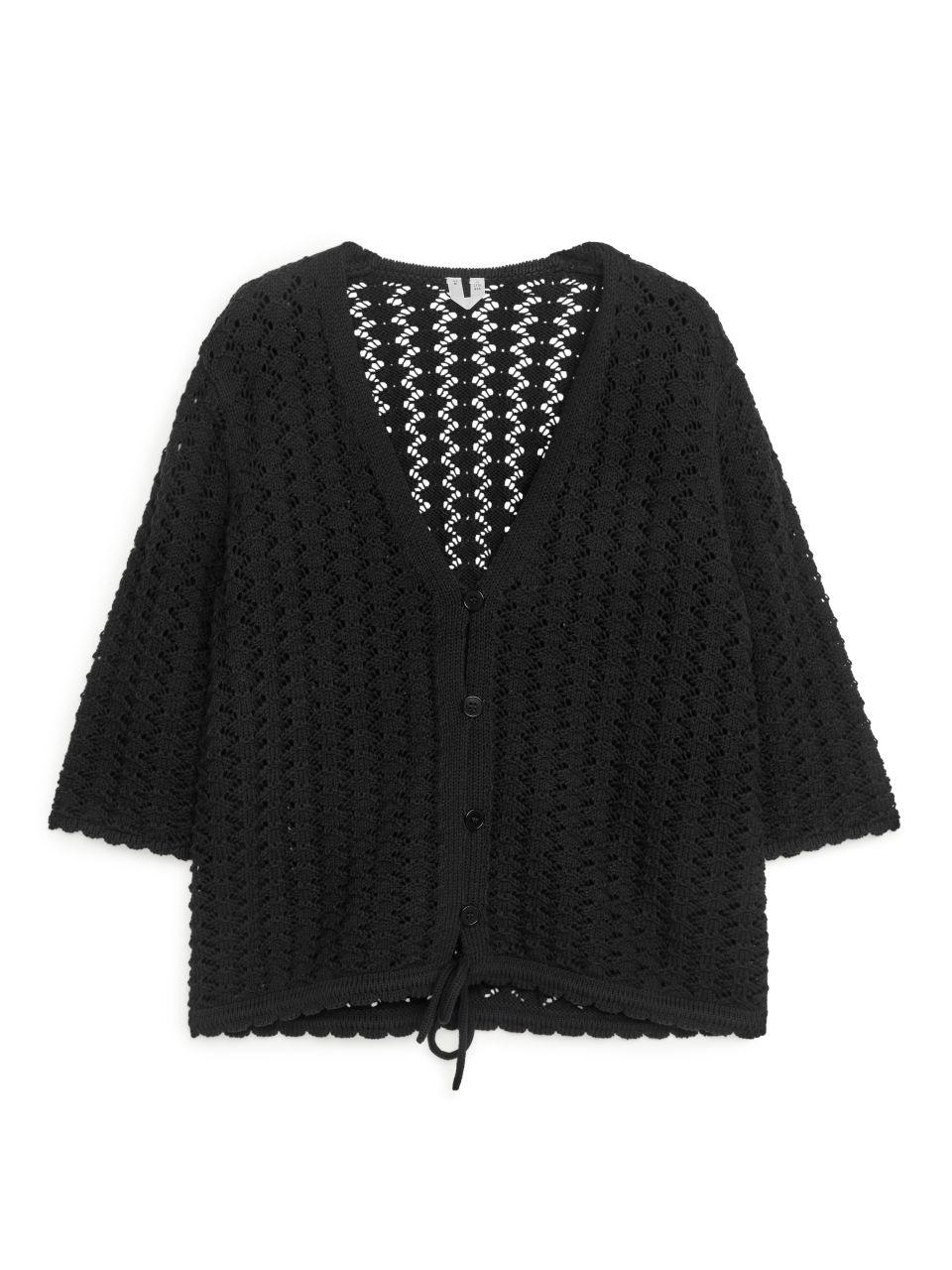 Lace Knit Cardigan - Black