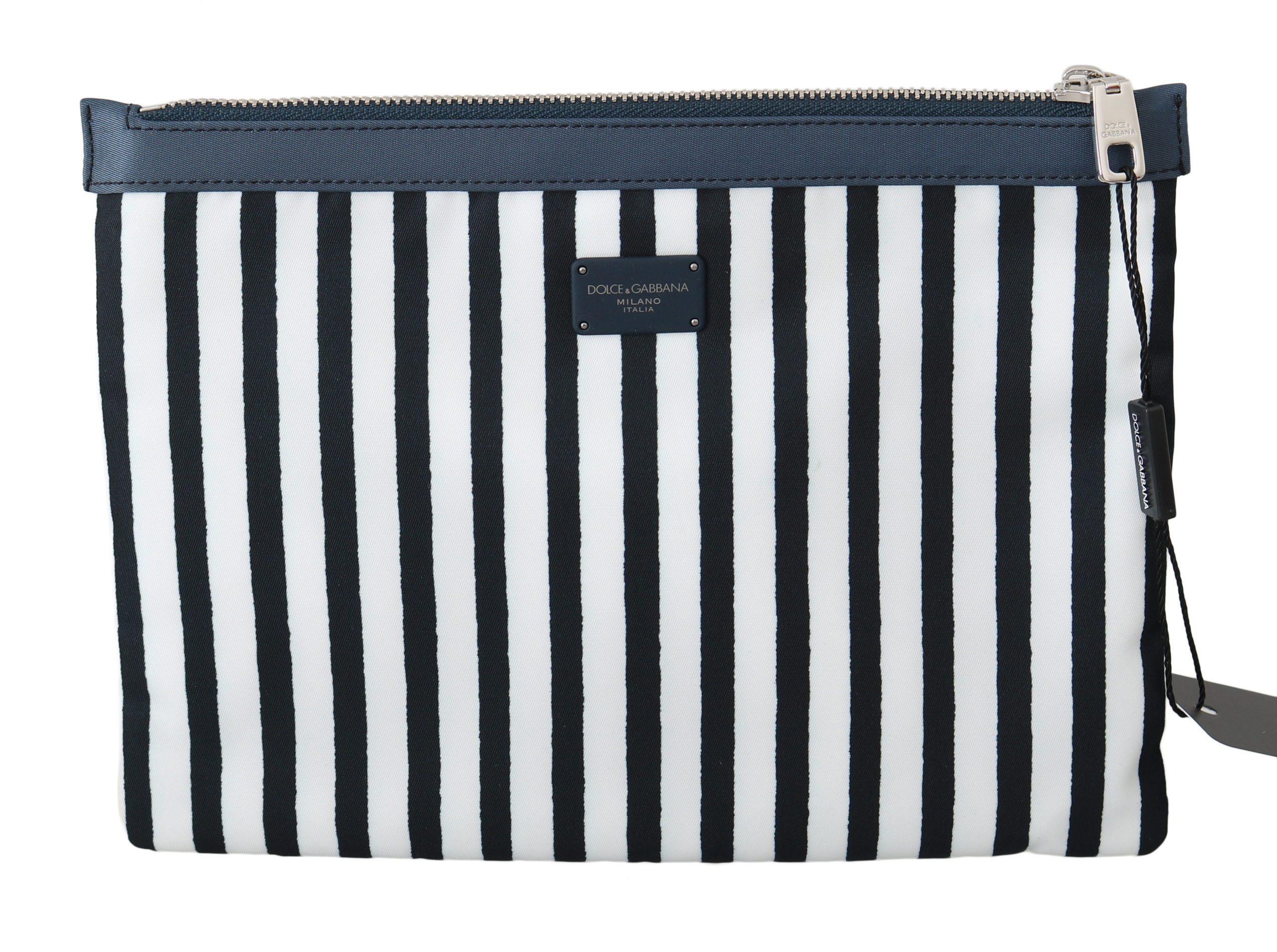 Dolce & Gabbana Men's Striped Zipper Messenger Bag Blue and White VA8651