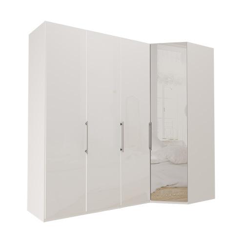 Garderobe Atlanta - Hvit 150 cm, 216 cm, Hvitt glass