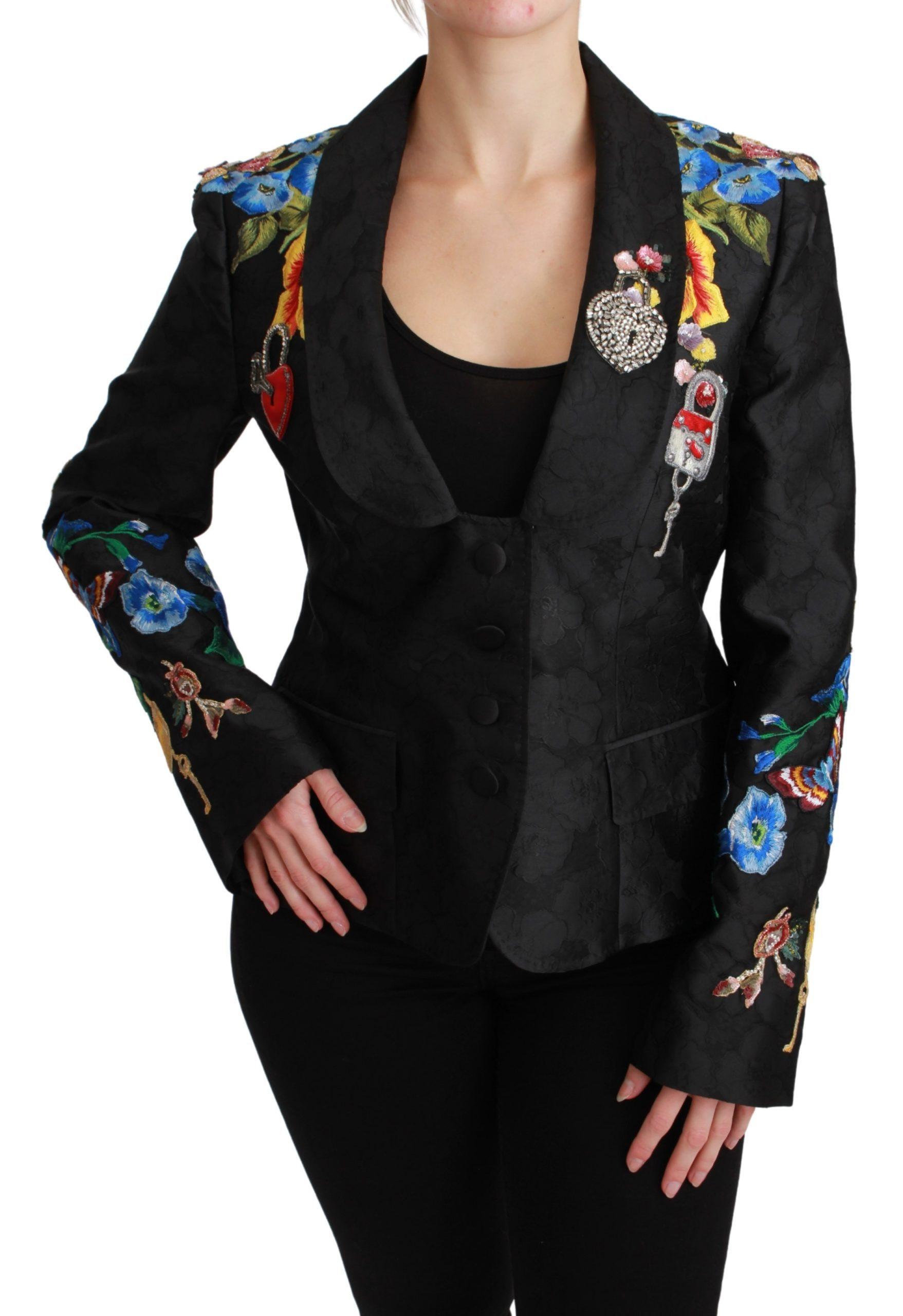 Dolce & Gabbana Brocade Crystal Blazer Black JKT2628-46 - IT46 | L