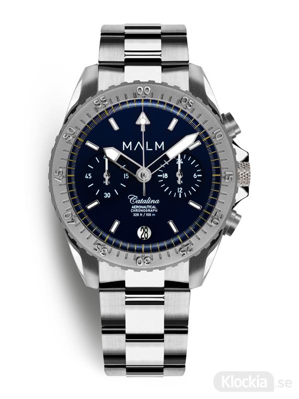 Herrklocka MALM CATALINA Blue Silver Aeronautical Chronograph 41 MW-CA47SWAF
