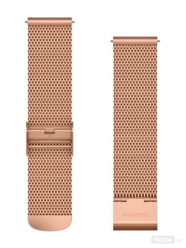 Garmin 20mm Roséguldfärgat milaneseband med 18K roséguldfärgade PVD-detaljer