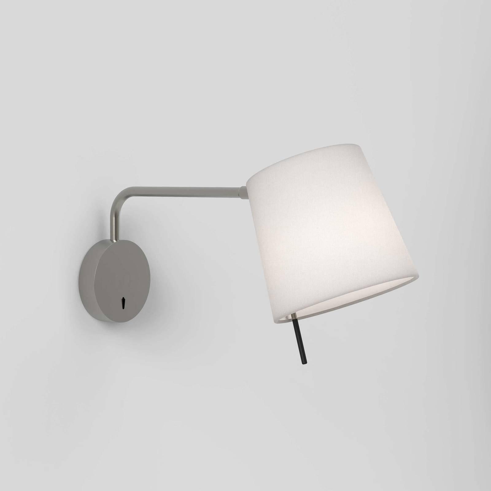 Vegglampe Mitsu Swing, nikkel, elfenben skjerm
