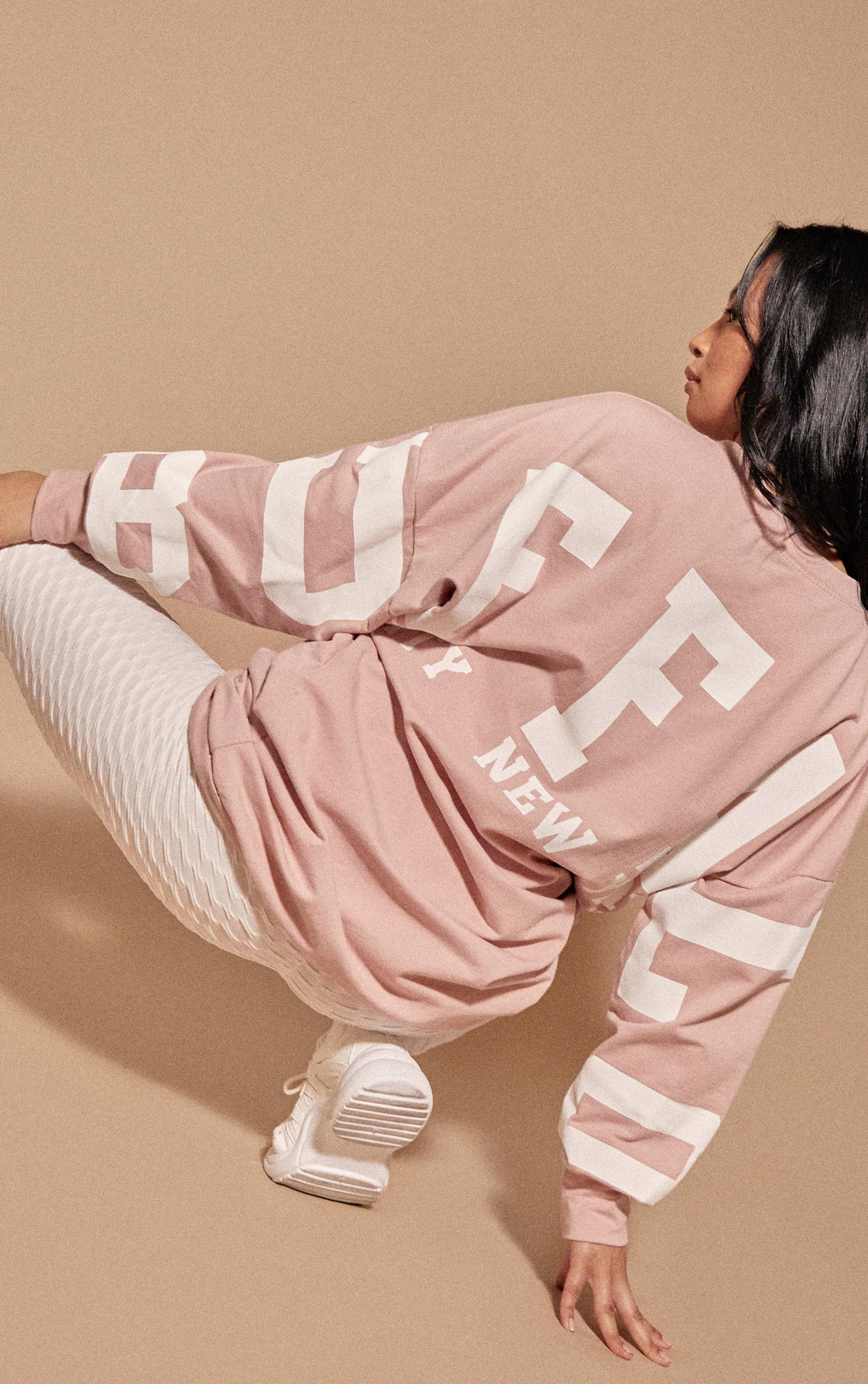 Slogan Oversized Jumper Dress - Pink / 8