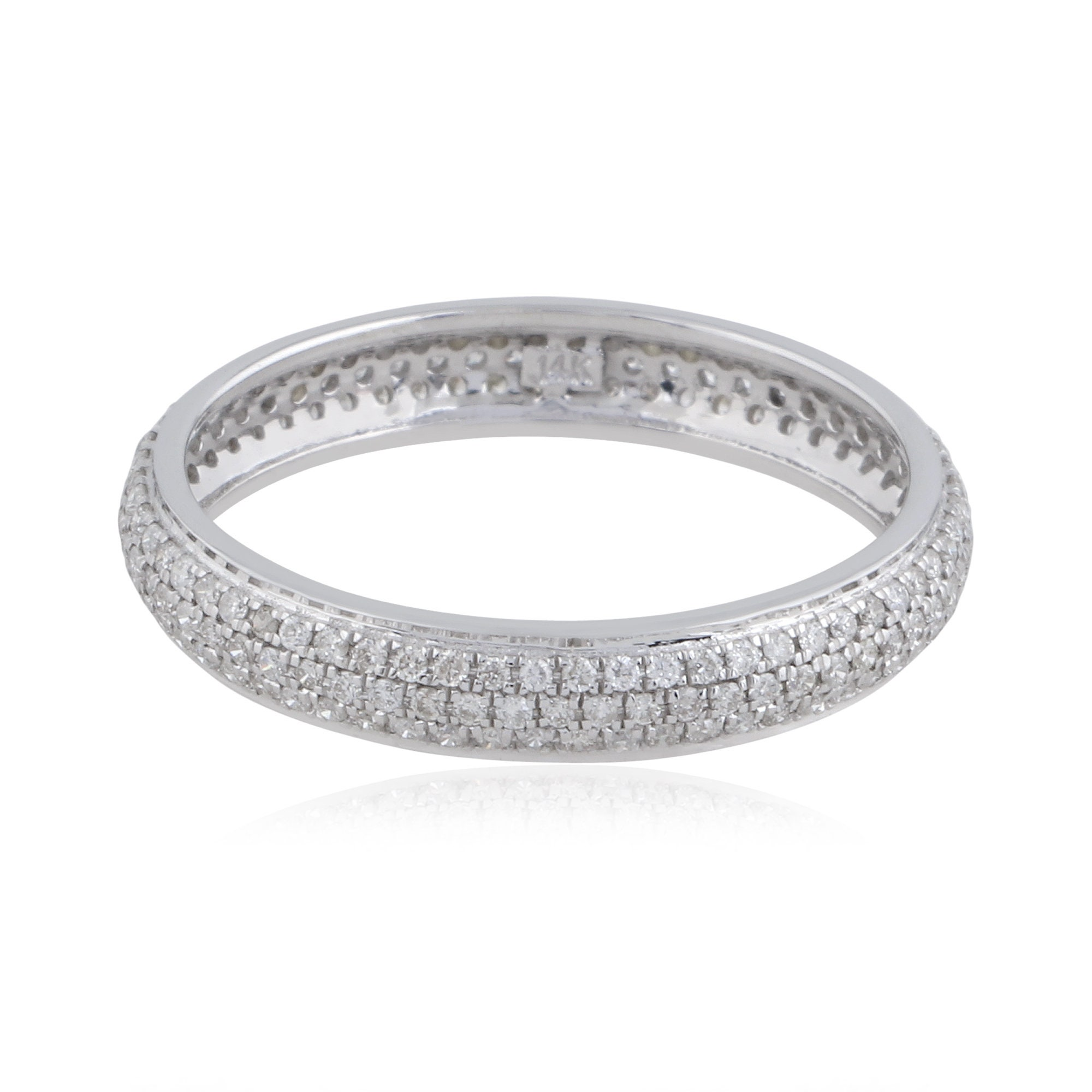 Diamond Band Ring, Solid 14K Gold Hot Sale Party Wear Eternity Band Hi Color Si Clarity Diamond Women Jewelry