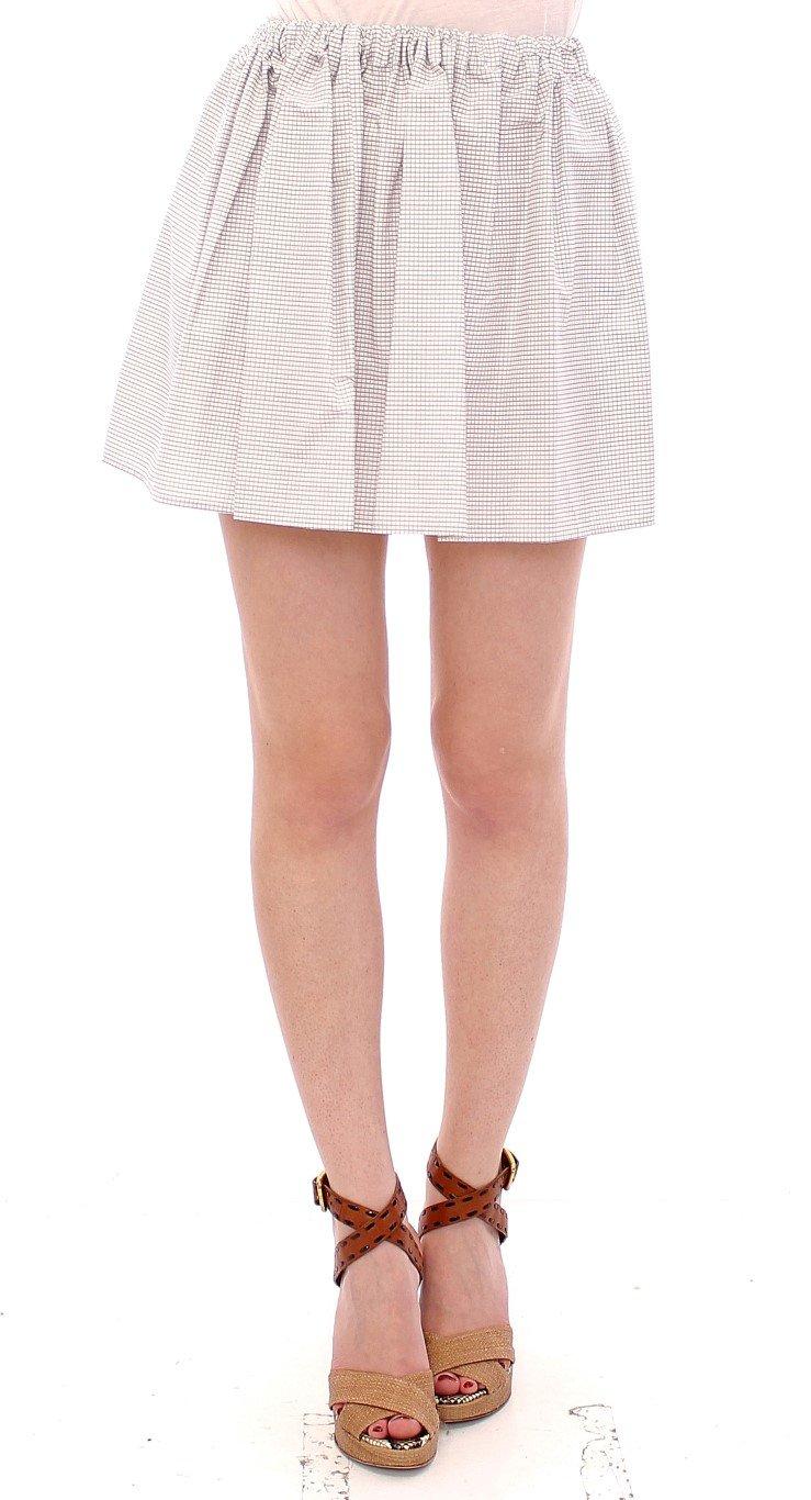 Andrea Incontri Women's Cotton Checkered Stretch Skirt White GSS10708 - IT42|M