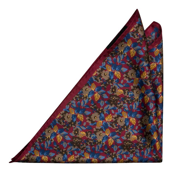 Silke Lommetørkler, Burgunder og blå blomster, Rød, Blomstrete