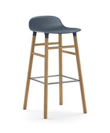 Form Barstol Blå/Eik 75 cm
