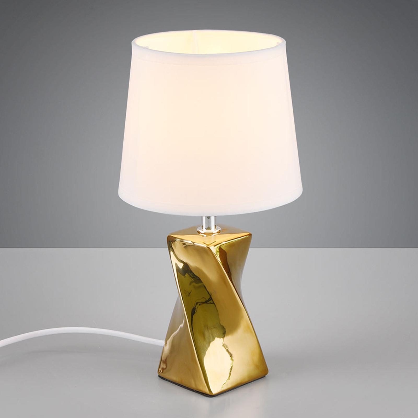 Pöytälamppu Abeba, Ø 15 cm, valkoinen-kulta