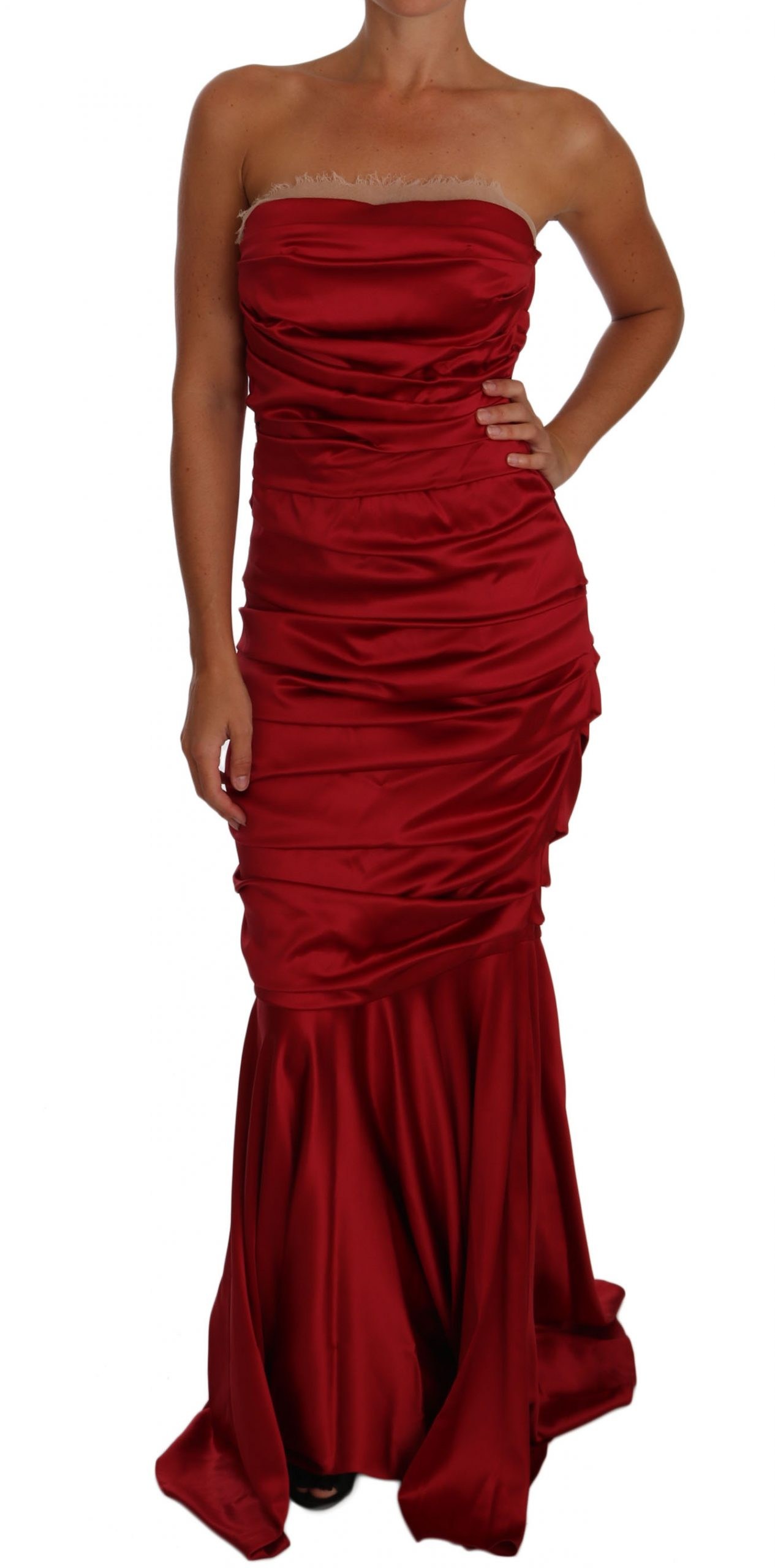Dolce & Gabbana Women's Ruched Satin Meraid Dress Red DR1495 - IT40|S