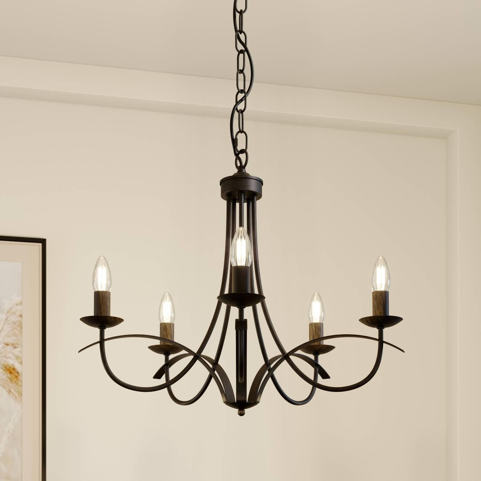 Lindby Amonja -kattokruunu, 5-lamppuinen, ruskea