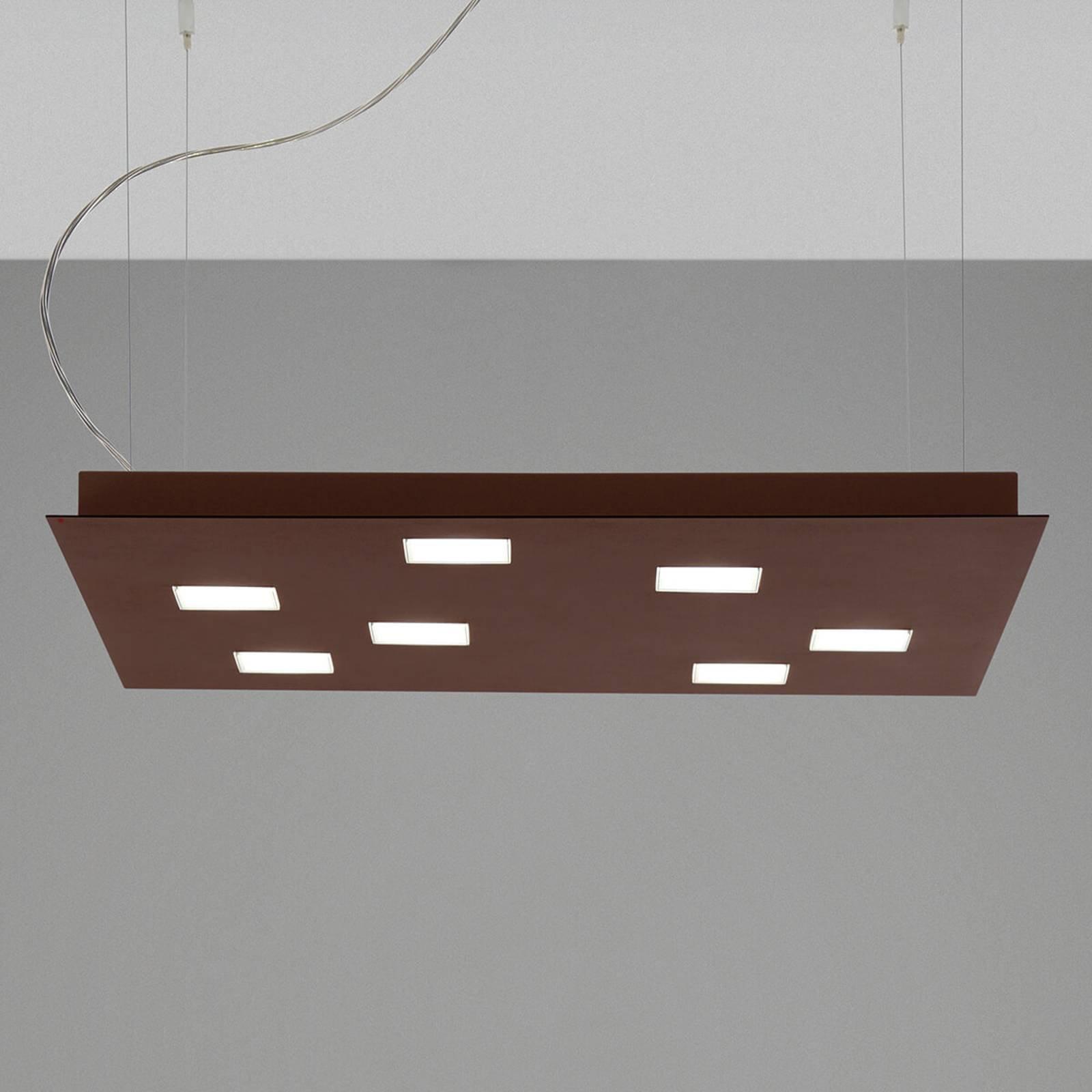 Fabbian Quarter - LED-hengelampe 7 lyskilder, brun