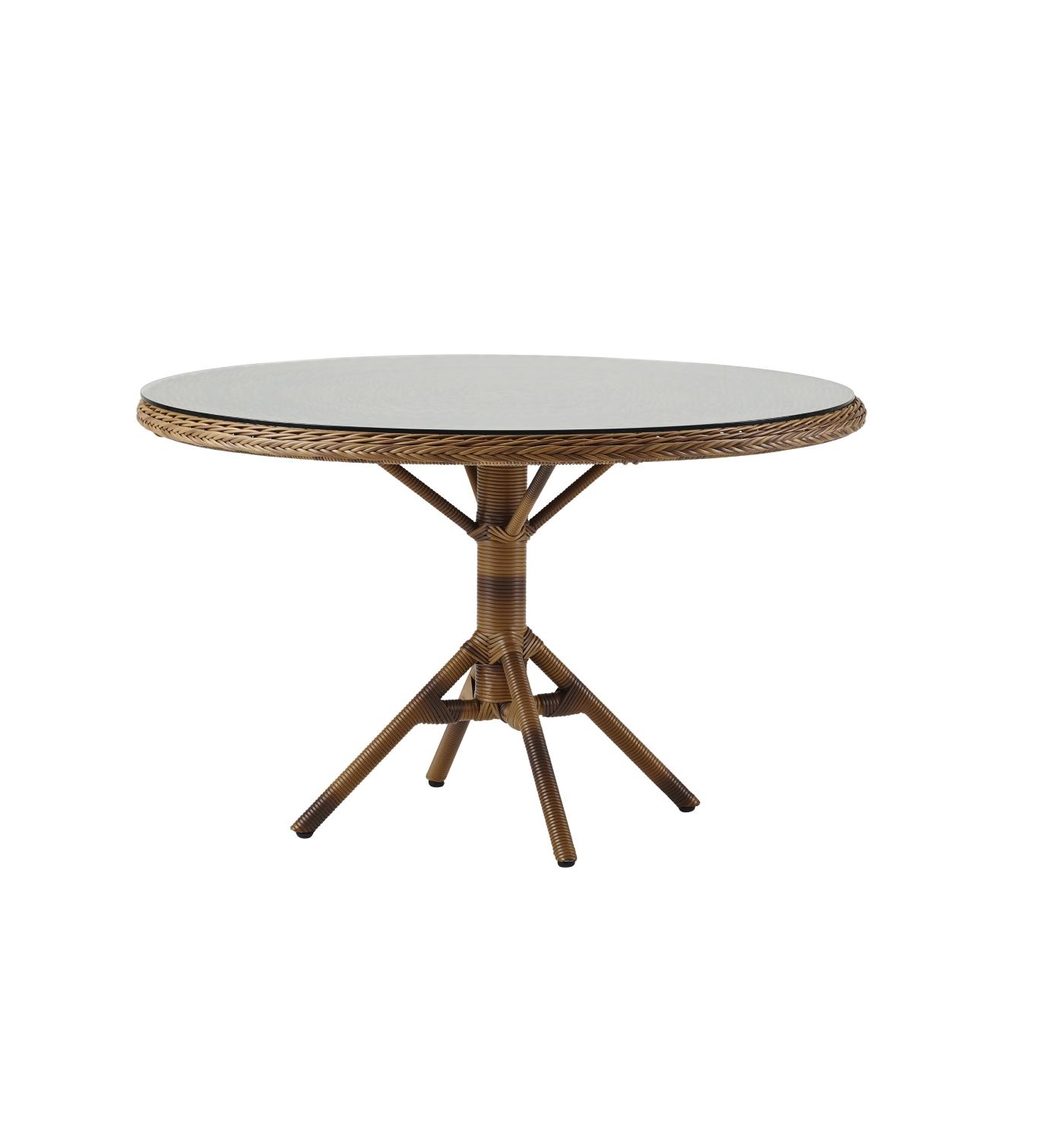 Grace runt matbord glastopp Chestnut Sika-design