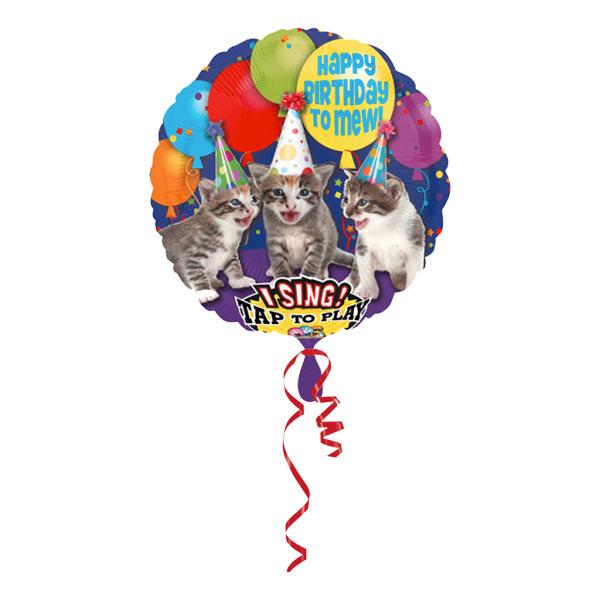 Sjungande Folieballong Happy Birthday Katter