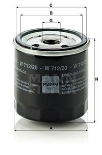 Öljynsuodatin MANN-FILTER W 712/20