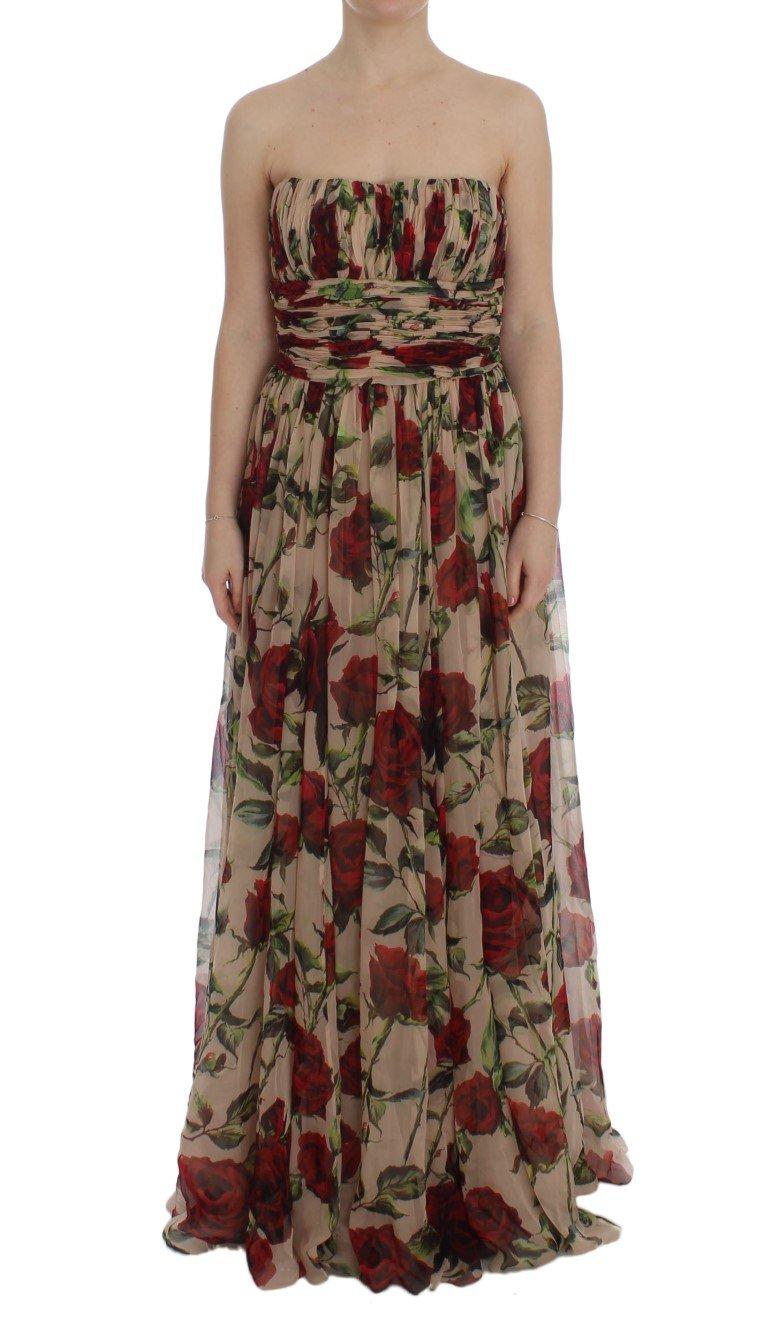 Dolce & Gabbana Women's Roses Silk Shift Dress Multicolor SIG50846 - IT46 XL