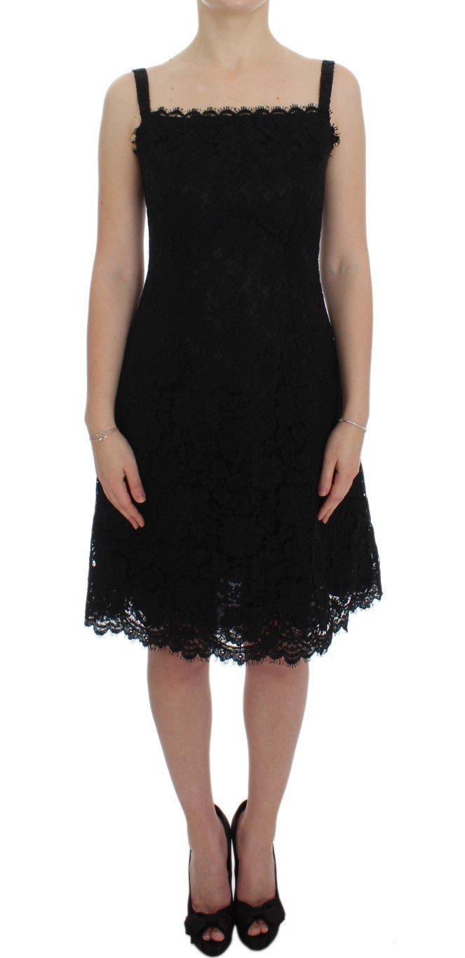 Dolce & Gabbana Women's Floral Lace Shift Knee Dress Black DRE10030 - IT40|S