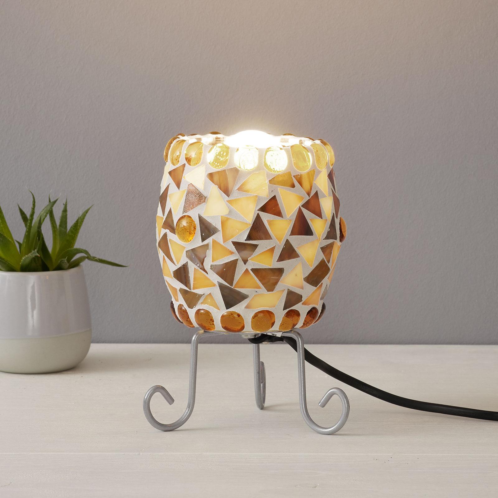 Enya-pöytälamppu lasimosaiikilla, kerma-ruskea