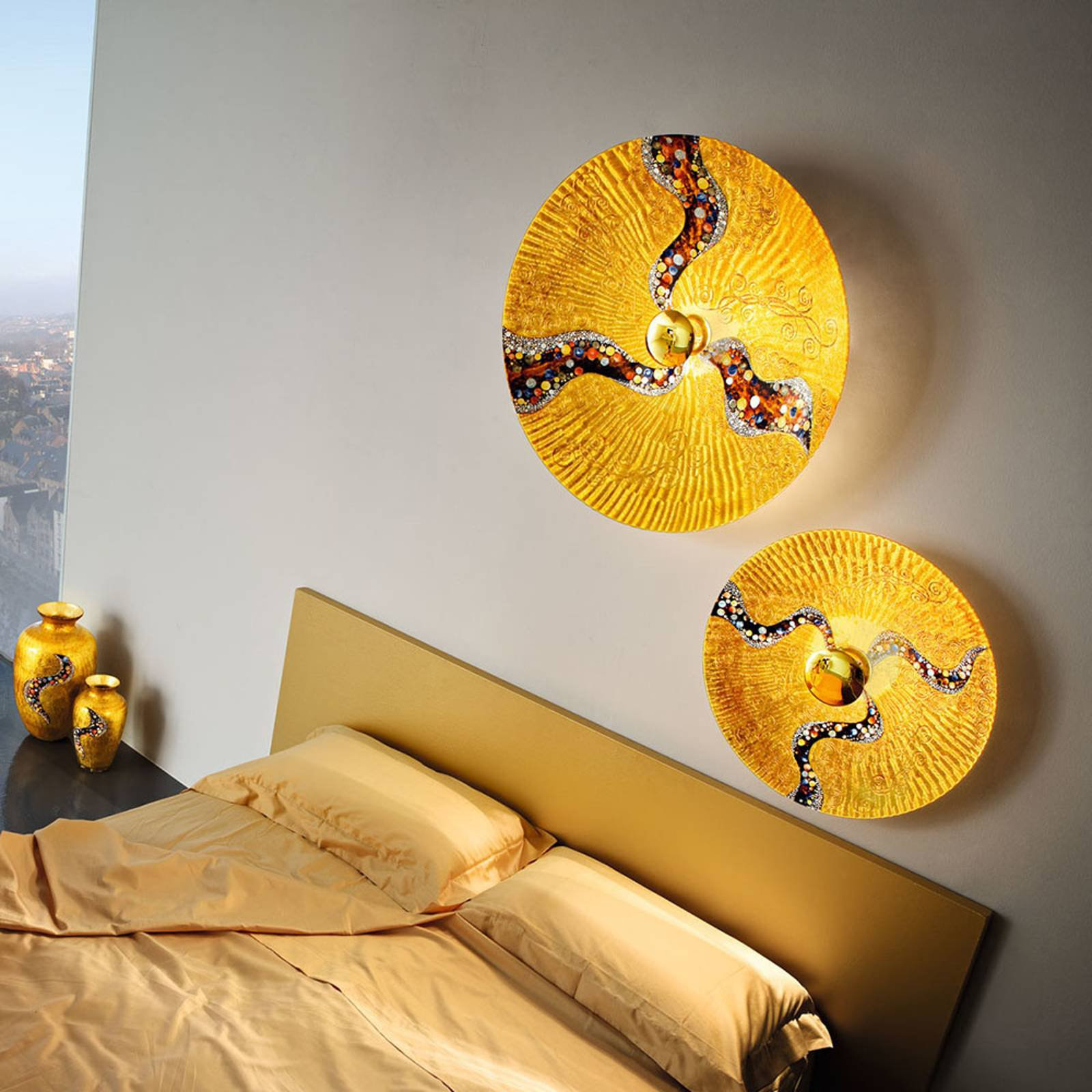 KOLARZ Luna Kiss Gold vegglampe, 24 karat, Ø 54 cm