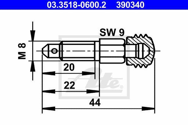 Huohottimen pultti / venttiili ATE 03.3518-0600.2