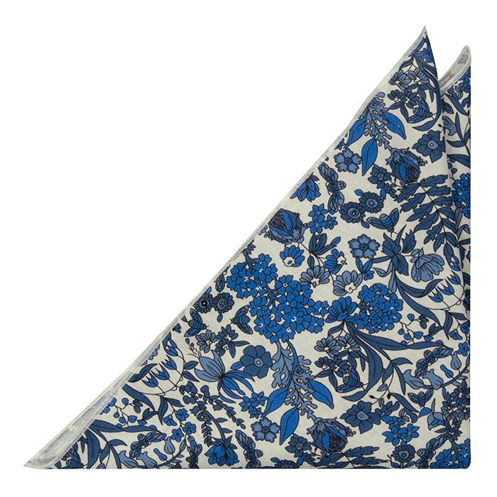 Bomull Lommetørkler, Hvit base med blå blomster, Blå, Blomstrete