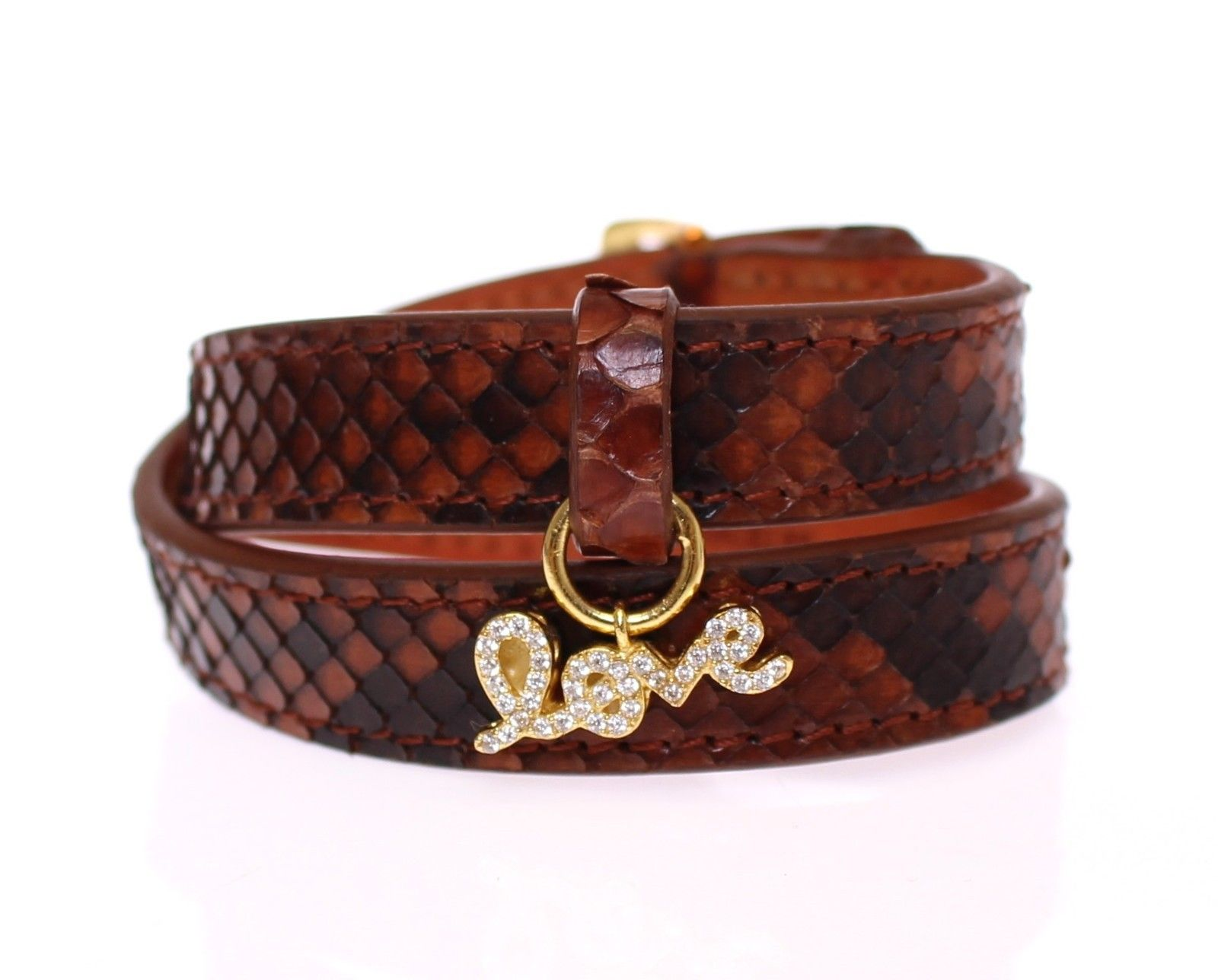 Nialaya Women's Snakeskin CZ LOVE 18K Bracelet Brown NIA10157 - M