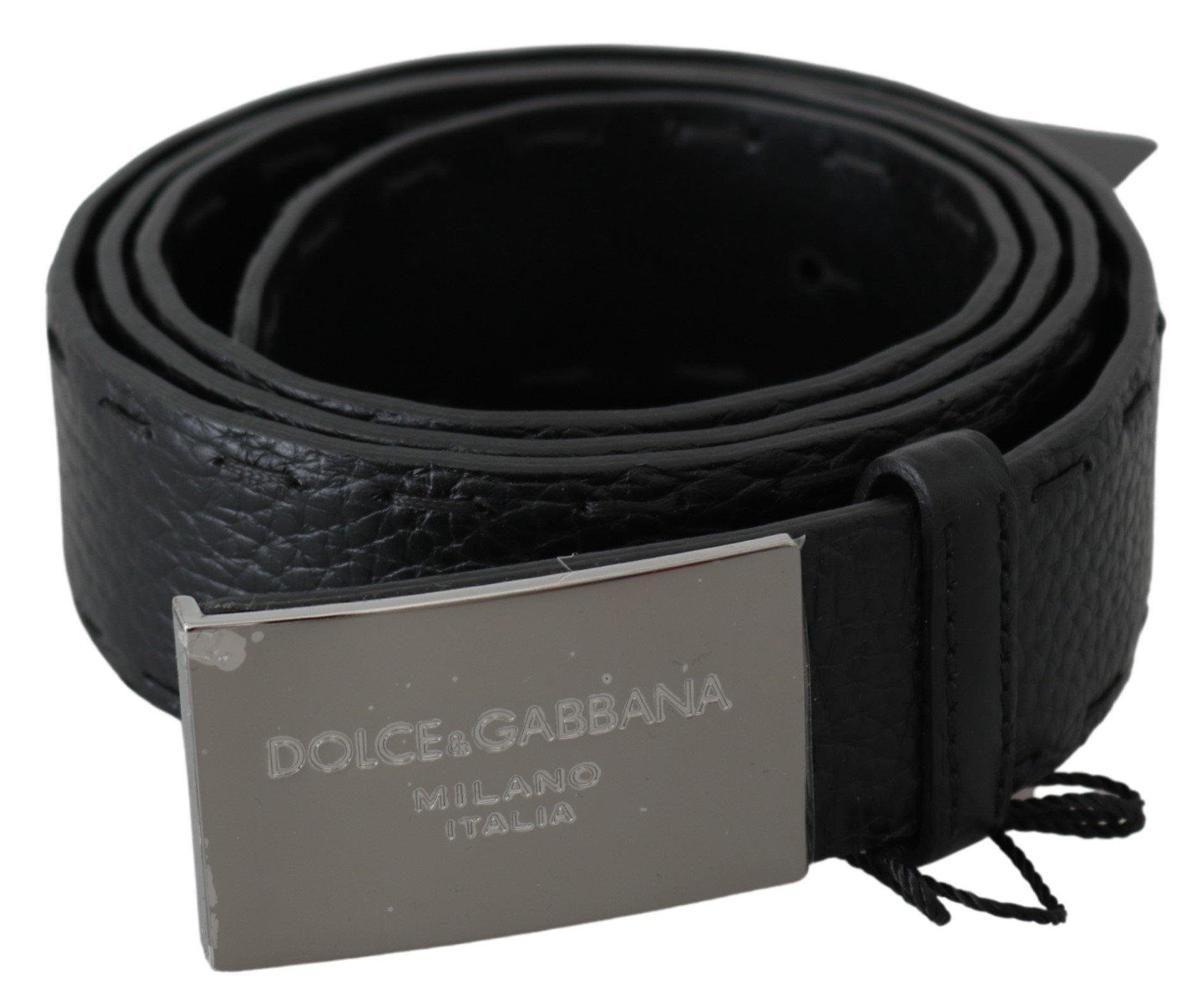 Dolce & Gabbana Men's Pattern Leather DG Logo Buckle Belt Black BEL60670 - 100 cm / 40 Inches
