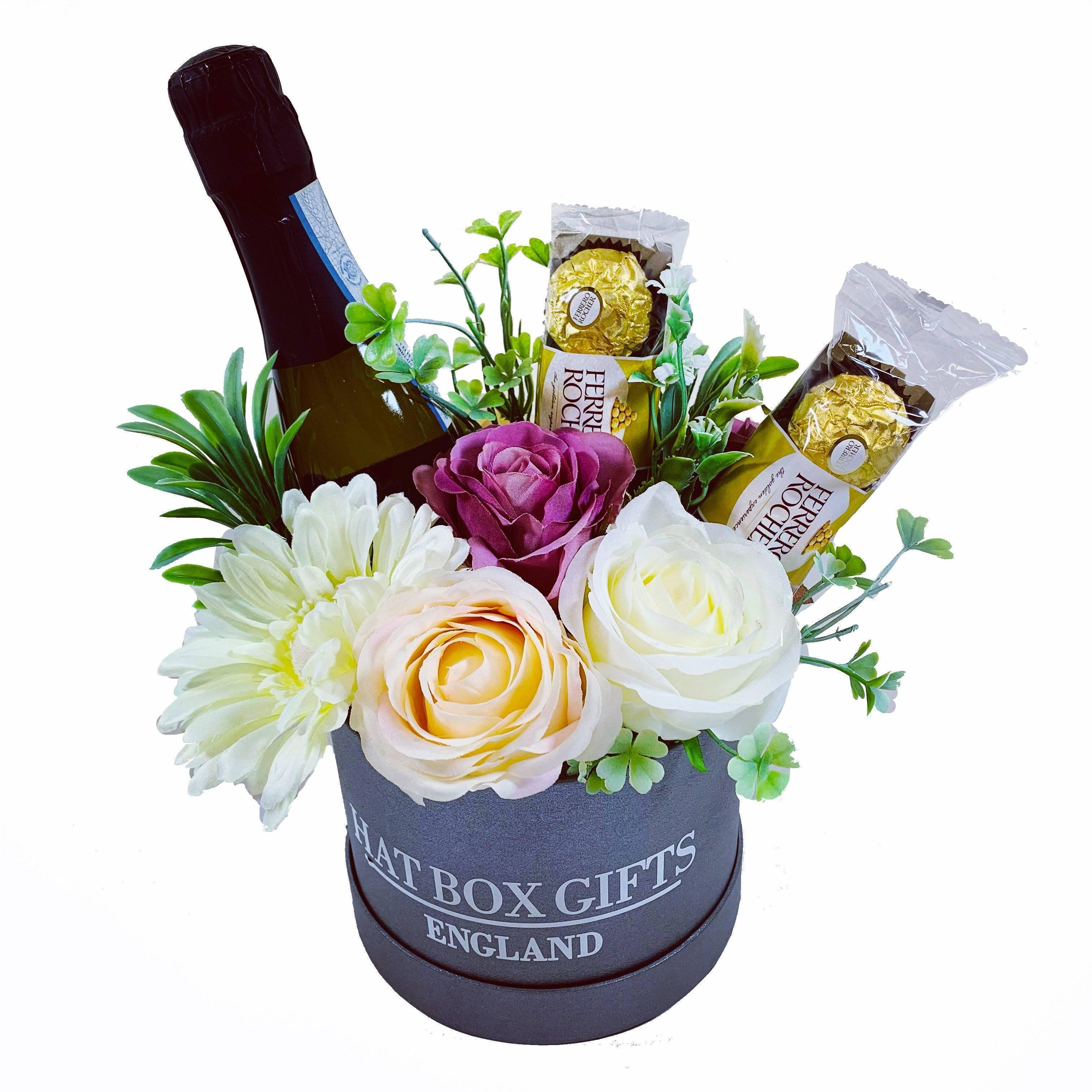 Hat Box with Prosecco, Chocolates & Flowers