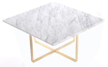 Ninety 60x60 sofabord - Carrara/messingstomme
