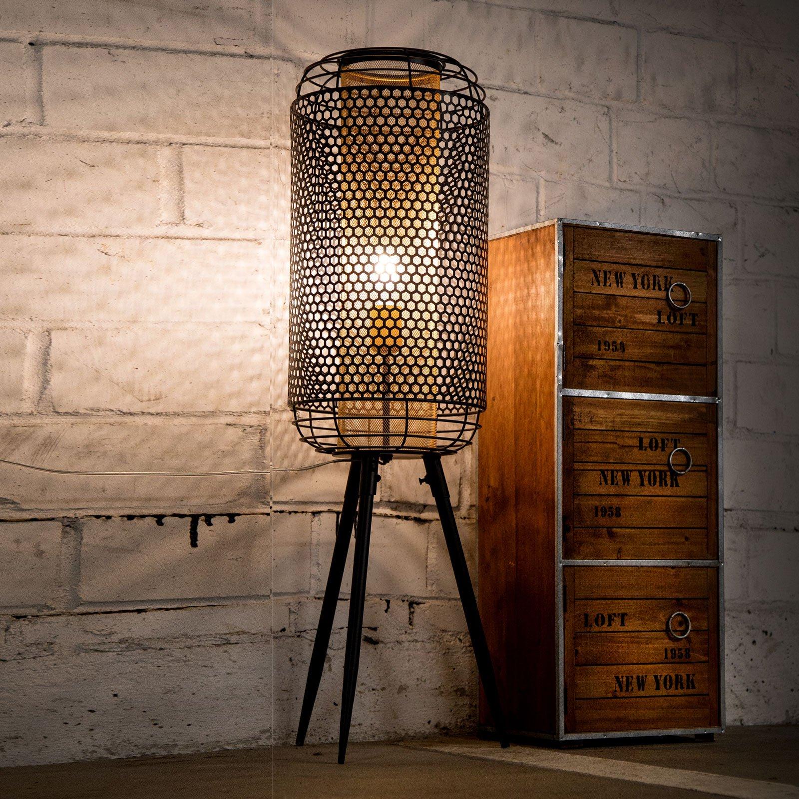 Bordlampe Denton i vintagestil, svart og gull
