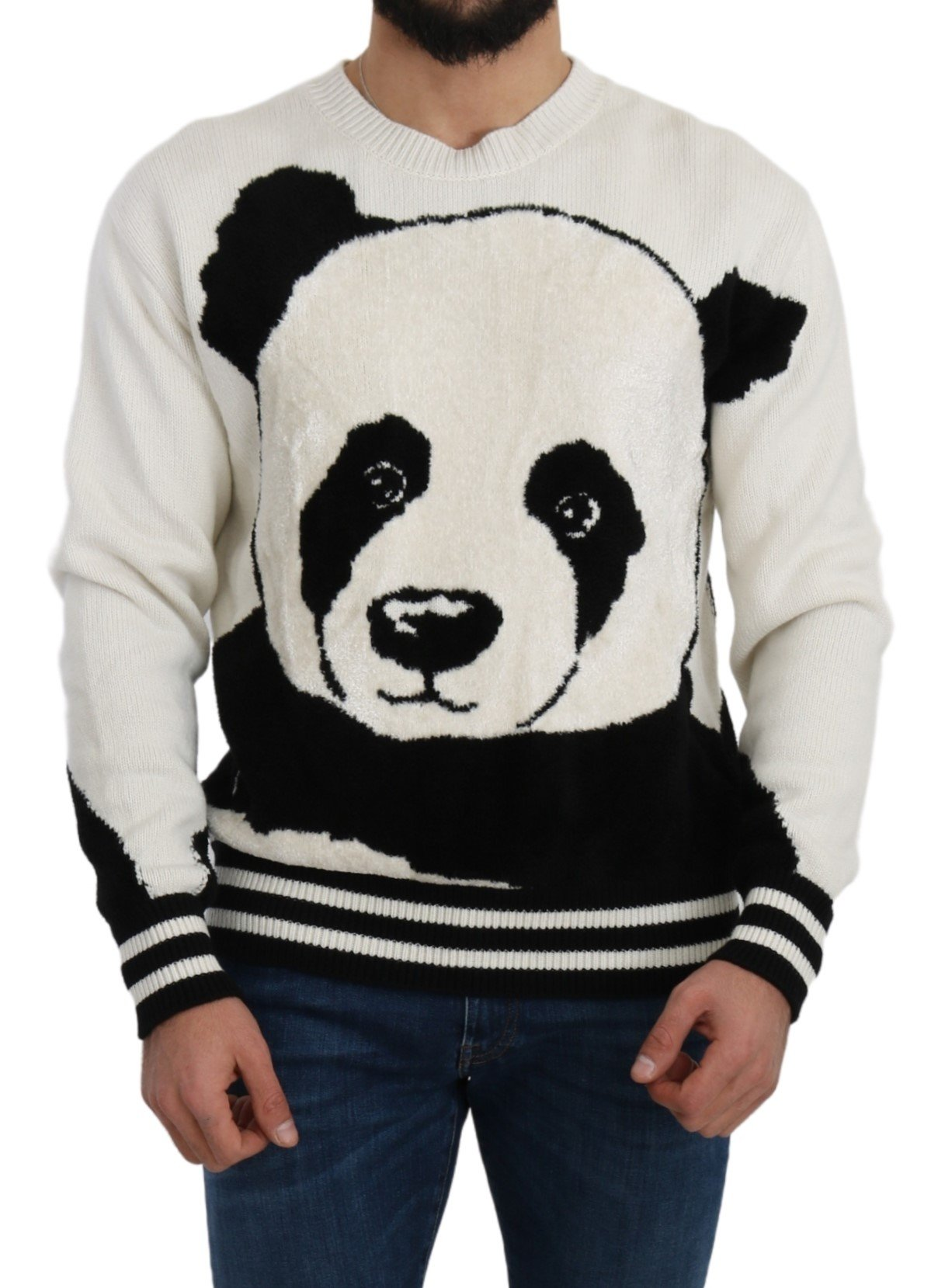 Dolce & Gabbana Men's Cashmere Panda Knit Sweater White TSH5210 - IT48   M