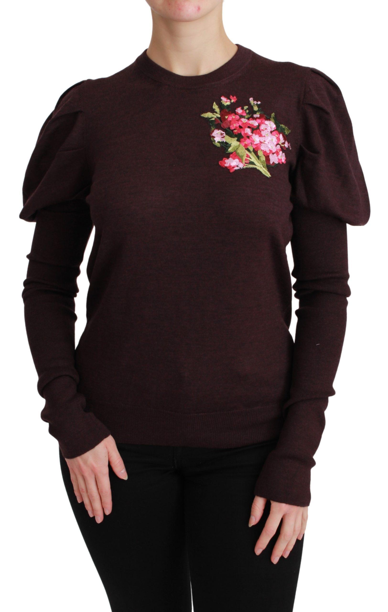 Dolce & Gabbana Women's Floral Wool Pullover Sweater Bordeaux TSH4593 - IT48 | XL