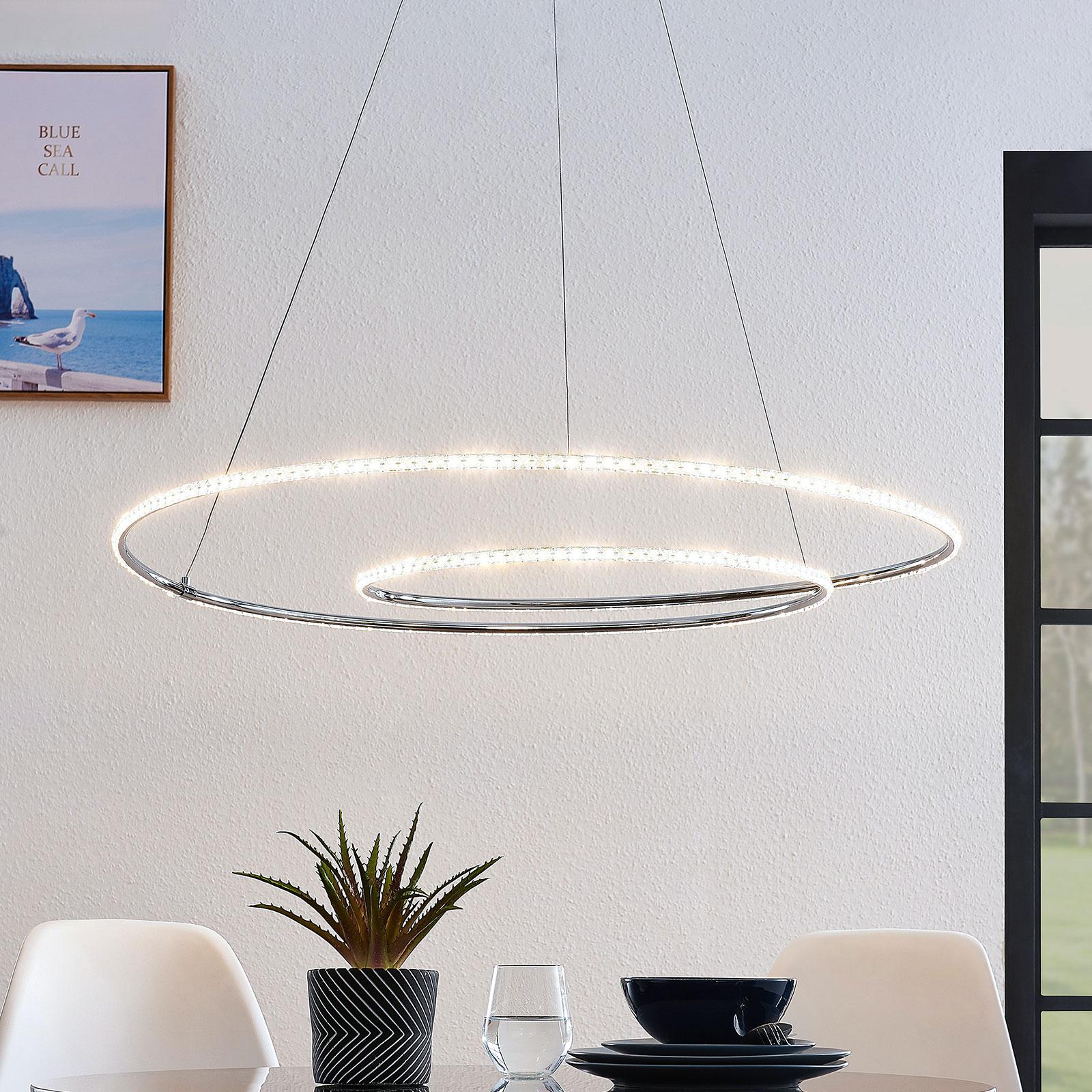 Lindby Lucy LED-riippuvalaisin, 90 cm, kristalli