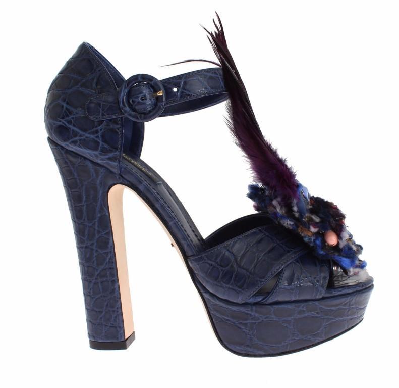 Dolce & Gabbana Women's Caiman Crocodile Leather Sandal Blue SIG18300 - EU36/US5.5