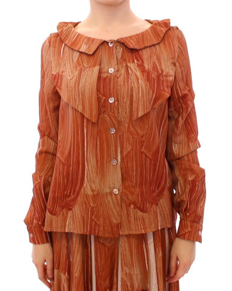 Licia Florio Women's LS Button Front Top Orange MOM10105 - IT42 M