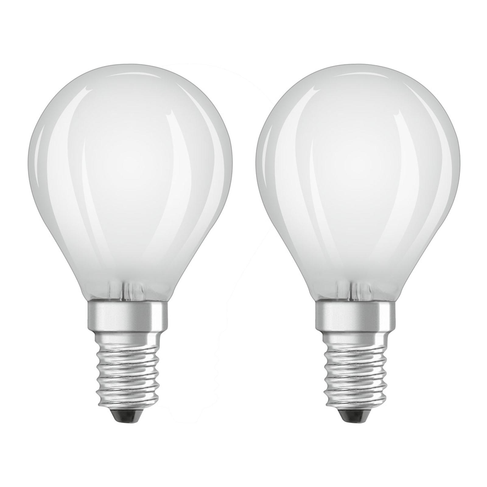 OSRAM-LED-golfpallolamppu E14 4W 2 kpl/pakkaus