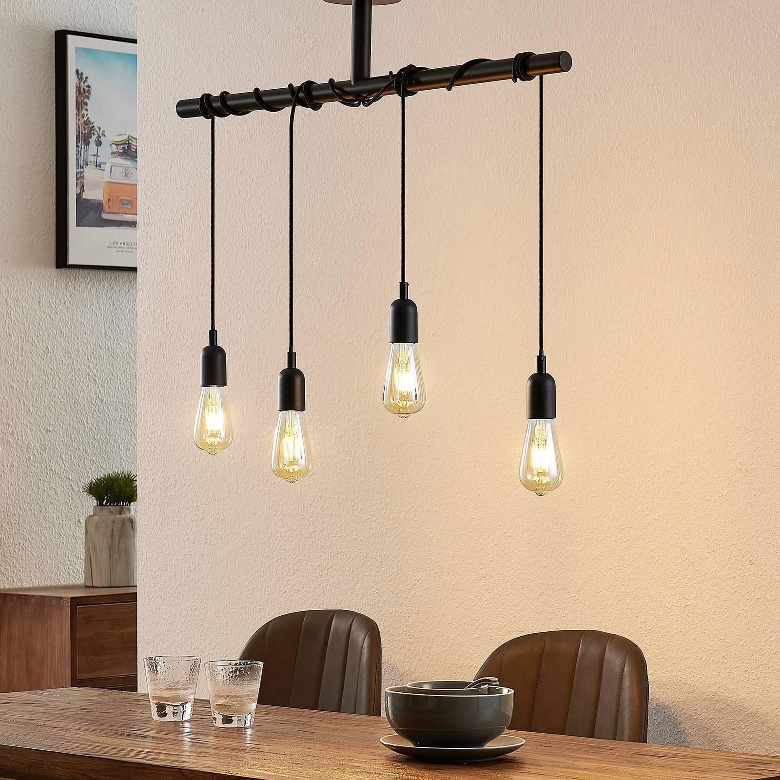 Lindby Kravos -riippuvalo 4-lamppuinen, musta