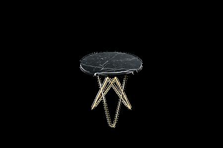 Tall Mini O Table Svart Marmor med Messingramme Ø50