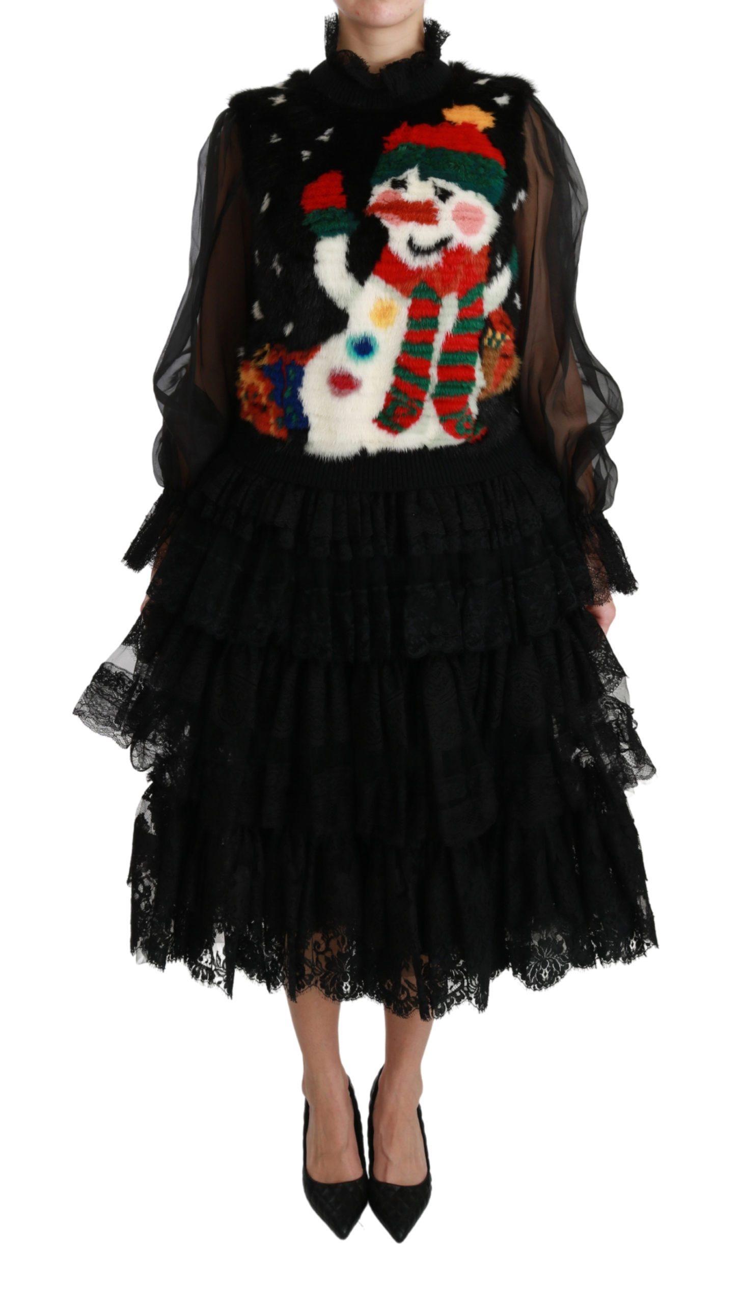 Dolce & Gabbana Women's Snowman Lace Layered Dress Black DR2509 - IT40 S