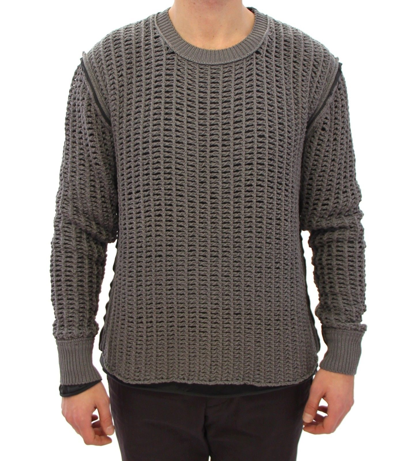 Dolce & Gabbana Men's Runway Netz Pullover Netted Sweater Gray GTH10683 - IT48   M